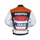 Honda Repsol Racing Red White Biker Leather Jacket