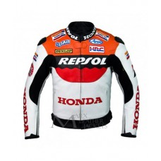 Honda Repsol Racing Red White Biker Leather Jacket