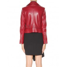Maroon Leather Biker Jacket