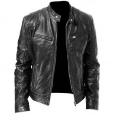 MENS BLACK & BROWN REAL LEATHER JACKET VINTAGE SLIM FIT RETRO GENUINE NEW