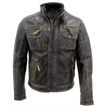Hot Black Brando Biker Motorcycle Leather Jacket