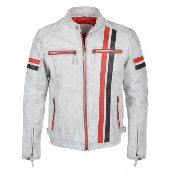 Men Biker Style Motorbike White Genuine Leather Jacket
