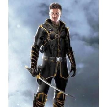 Avengers Endgame Jeremy Renner Hawkeye Hooded Leather Jacket