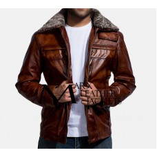 Evan Hart Fur Brown Leather Jacket