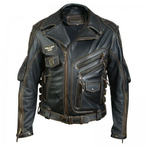Men Genuine Cowhide Premium Leather Motorcycle Biker Top Leather Jacket