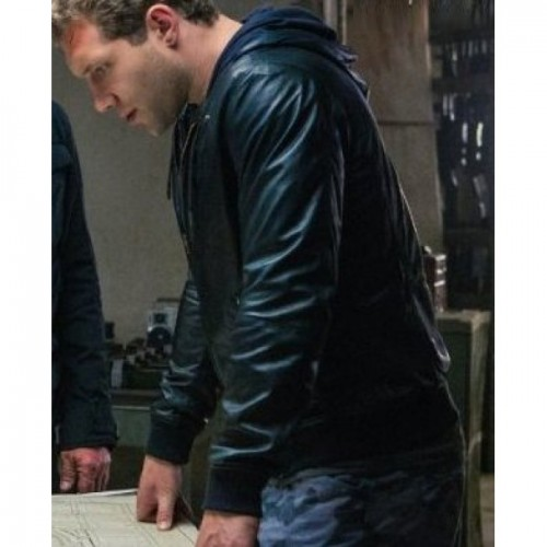 Terminator Genisys Jai Courtney Black Hooded Leather Jacket