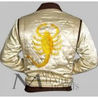 Drive Scorpion White Satin Ryan Gosling Men's Bomber Jacket