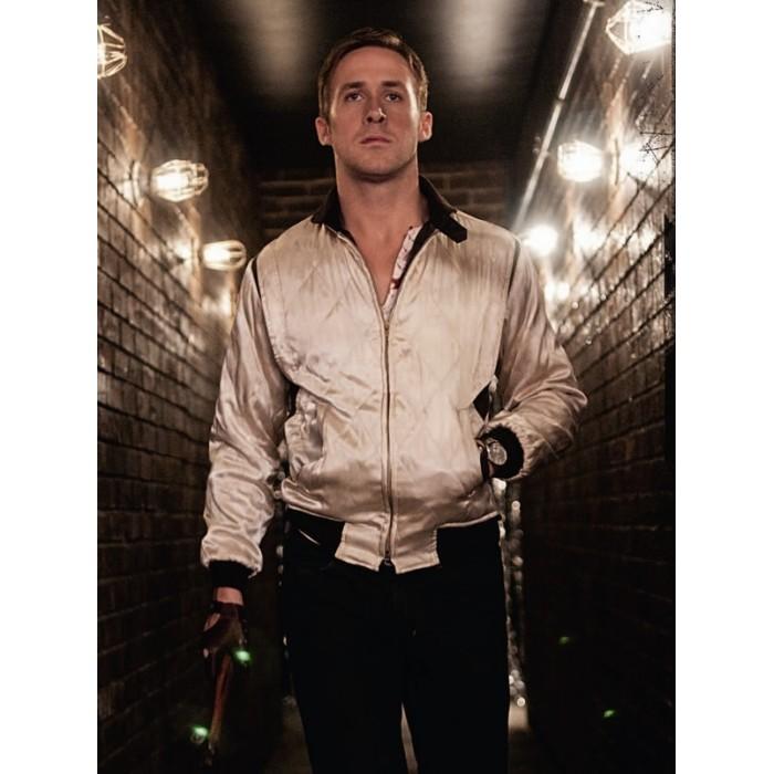 191a8254a Drive Scorpion White Satin Ryan Gosling Men's Bomber Jacket