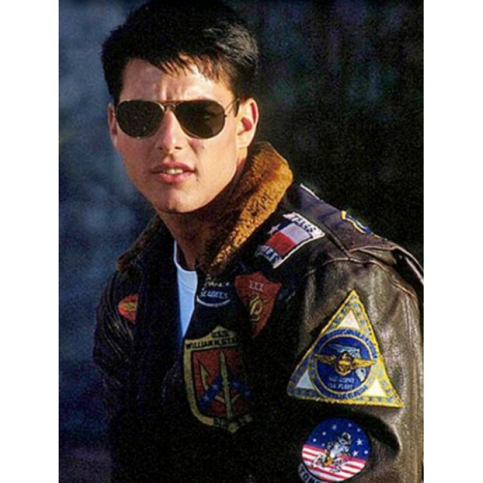 d0c5efc4c01 Top Gun Tom Cruise (Maverick) Bomber Flight Jacket With Patches ...