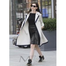 Anne Hathaway The Intern White Leather Coat