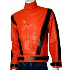 Michael Jackson Red Thriller Leather Jacket Black Stripes