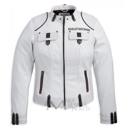 Harley Davidson Motorcycle Cottonwood Women White Jacket