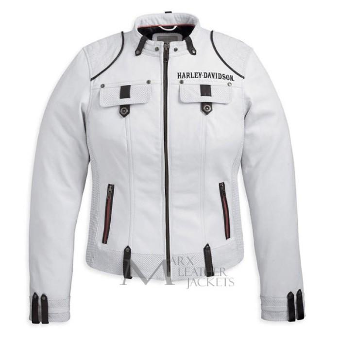 Harley davidson white leather jacket