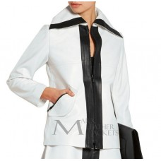 White and Black Leather Jacket For Women