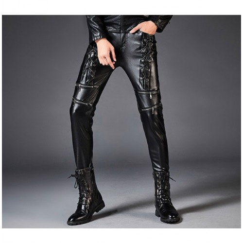 Dark Forest Autumn Winter Slim Fit Leather Mens Pants