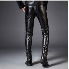 Dark Forest Autumn Winter Slim Fit Leather Mens Pants