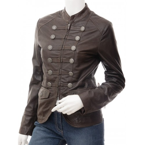 Marx Women Brown Leather Jacket
