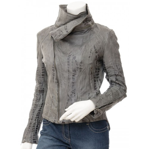 Marx Women Grey Leather Jacket