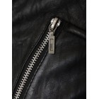Marx Ladies Washed Black Biker Leather Jacket