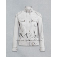Gangster White Leather Jacket For Women