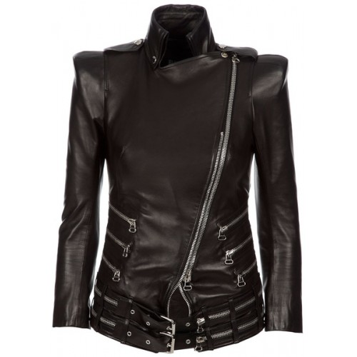 BALMAIN Zip Leather Jacket