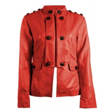Marx Nautical Red Azure Women Leather Blazer