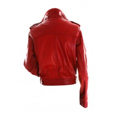 Marx Women Biker Slim Fit Red Leather Jacket