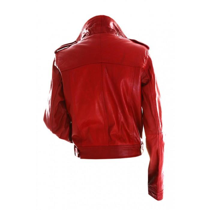 5ed0a18e1fc Marx Women Biker Slim Fit Red Leather Jacket