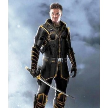 Avengers Endgame Jeremy Renner Hawkeye Hooded Leather Jacket